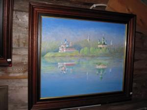 Staden Uglich vid Volga. Olja på duk av Brita Isaksson.
