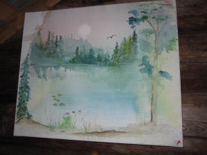 """""""Näckrosen"""". Akvarell på duk av Lilly Berglund."""